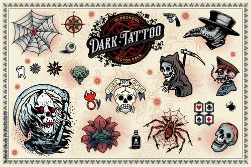 Fototapeta Old School Tattoo set