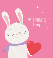 Happy Valentines Day, Cute Bunny With Red Heart Love Passion