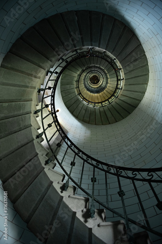 Fototapety, obrazy: Beautiful spiral staircase to the top of Eckmuhl lighthouse, on the Penmarsh Peninsula.  Brittany. France