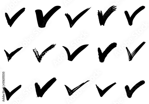 Photo set of hand drawn check (V) signs isolated on white background