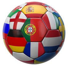 Portugal And Euro Football Ball Teams Isolated On White