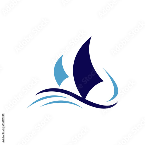 sailing yacht ship boat logo design on the water ocean wave  vector concept Obraz na płótnie