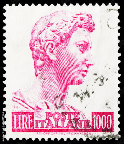 Photo Postage stamp printed in Italy shows Head of the statue of Saint, George, watermark stars I, Donatello's St