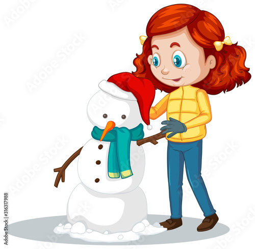 Girl making snowman on white background