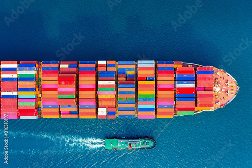 Fototapeta Aerial view of container cargo ship in sea. obraz