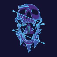 Neon Skull Illustration