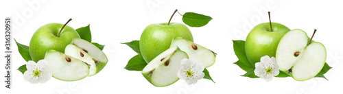 Fototapeta Apple isolated. Set of green ripe whole apples with cut slice, fresh leaves and flowers isolated on white background obraz