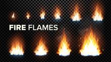 Fire Flames Set Vector. Differ...