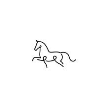 Single Line Horse. Line Art Horse Logo Design.