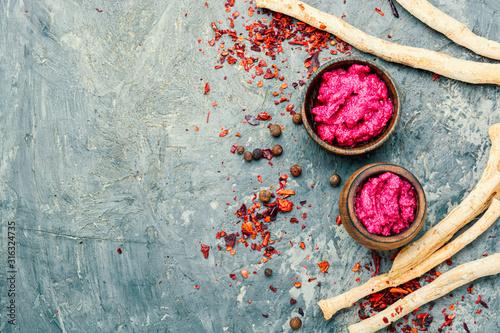 Fototapeta Spicy horseradish sauce