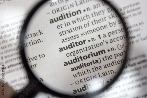 Photo The word of phrase - auditor - in a dictionary.