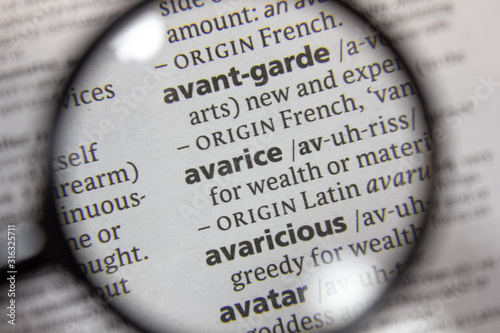 The word of phrase - avarice - in a dictionary. Canvas Print