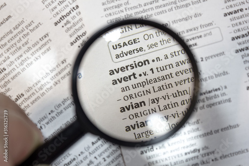 The word of phrase - avert - in a dictionary. Canvas Print