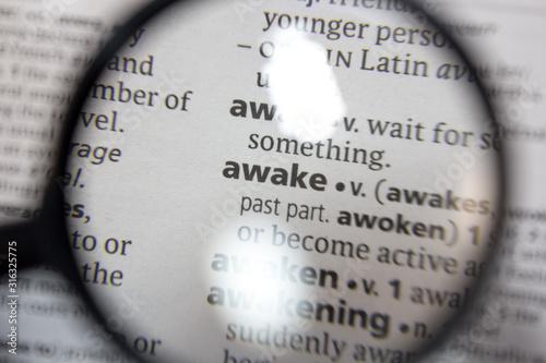 Obraz The word of phrase - awake - in a dictionary. - fototapety do salonu