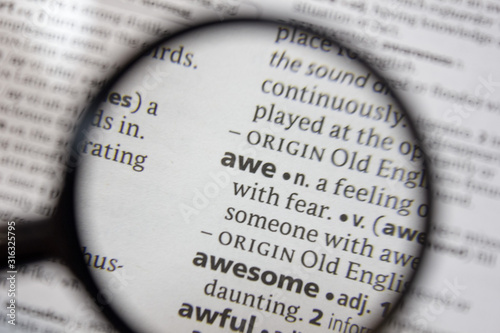 The word of phrase - awe - in a dictionary. Canvas Print
