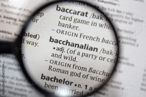 The word of phrase - bacchanalian - in a dictionary. Canvas Print