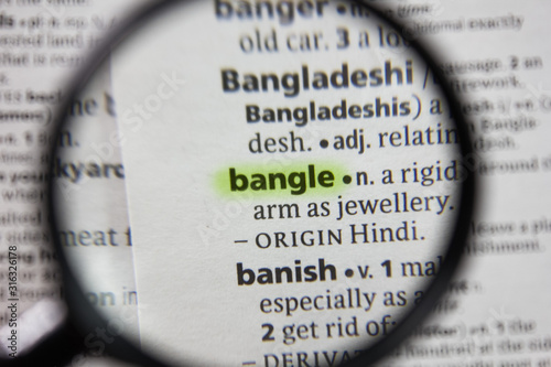 The word or phrase bangle in a dictionary. Canvas Print