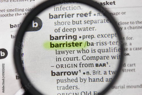 The word or phrase barrister in a dictionary. Canvas Print