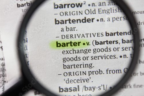 The word or phrase barter in a dictionary. Canvas Print