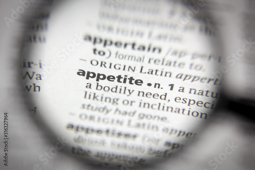 Word or phrase appetite in a dictionary. Wallpaper Mural