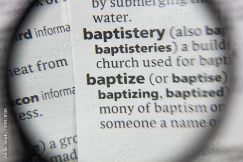 The word or phrase baptize in a dictionary. Canvas Print