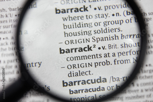 The word or phrase barrack in a dictionary. Wallpaper Mural