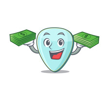Happy Rich Guitar Plectrum Character With Money On Hands