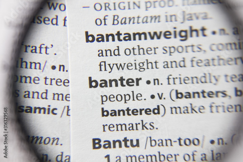 Photo The word or phrase banter in a dictionary.