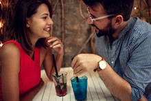 Happy Couple On Date Celebrati...