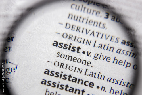 The word or phrase assist in a dictionary. Wallpaper Mural