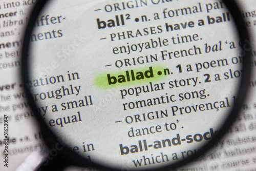The word or phrase ballad in a dictionary. Canvas Print