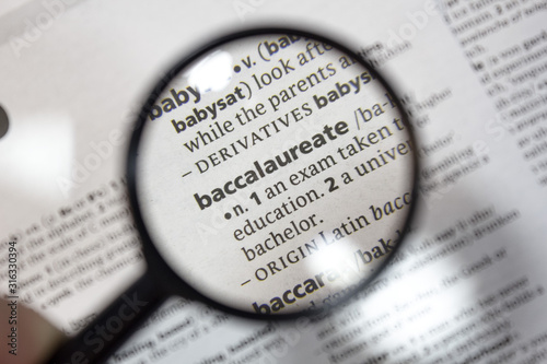 Photo The word of phrase - baccalaureate - in a dictionary.
