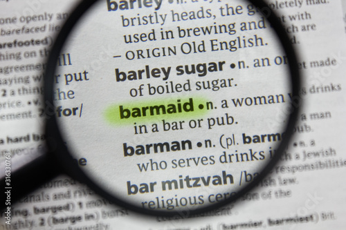 The word or phrase barmaid in a dictionary. Wallpaper Mural
