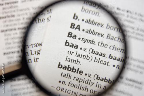 The word of phrase - baa - in a dictionary. Canvas Print