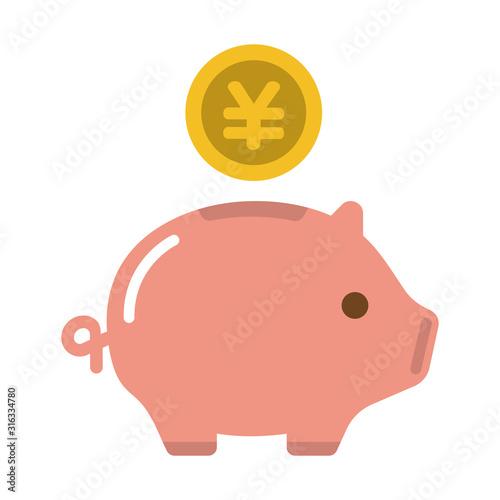 Slika na platnu 豚の貯金箱・貯蓄・節約・収入 カラーアイコン (日本円)