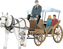 Horse Drawn Carriage Vector Illustration