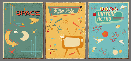 Vintage symbols and icons of 1950s on used background