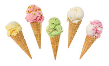 Set Of Ice Cream In Waffle Cone