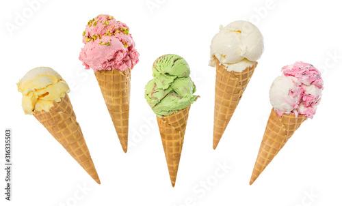 Fotografie, Obraz Set of ice cream in waffle cone