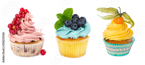 Set of different cupcakes Fotobehang