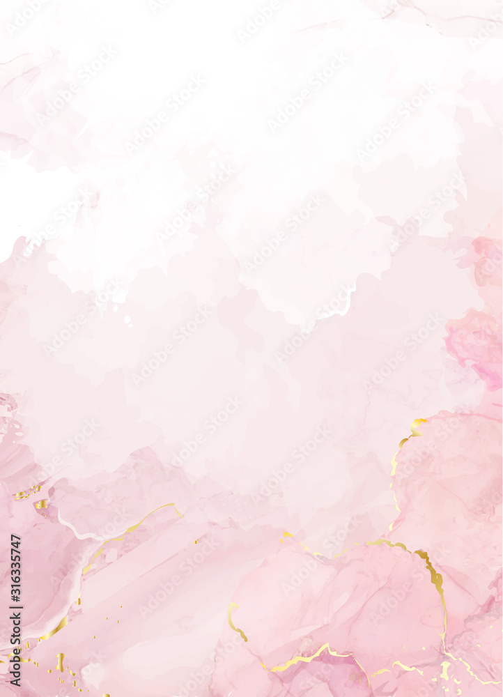 Fototapeta Blush pink watercolor fluid painting vector design card