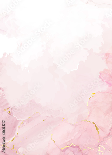Blush pink watercolor fluid painting vector design card - fototapety na wymiar