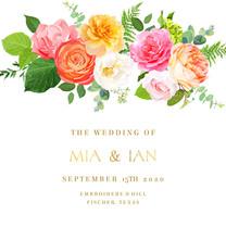 Pink, Yellow, Fuchsia Rose, Orange Ranunculus, Juliet Garden Rose