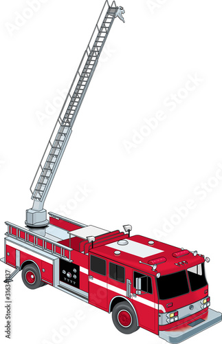 Canvas Print Fire Ladder Truck Vector Illustration