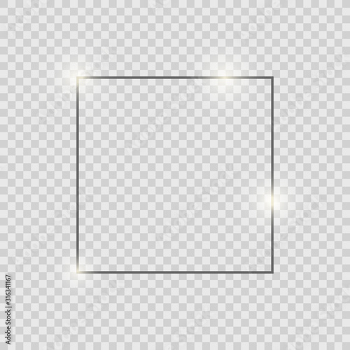 Gray shiny glowing vintage frame with shadows isolated on transparent background. Gray luxury realistic square border. Fotomurales