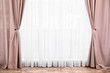 canvas print picture - Window with elegant curtains in empty room