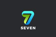 Number 7 Seven Logo Design Vec...
