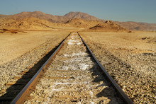 Railway In The Desert On A Dry...
