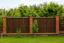 New Wooden Fence With Massive ...