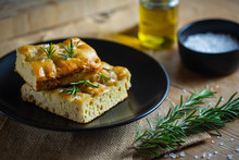 Home Cooked Focaccia Bread With Rosemary Herbs